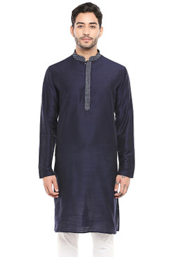 In-Sattva Men's Classic Band Collar Indian Kurta Tunic with Embroidered Placket Navy