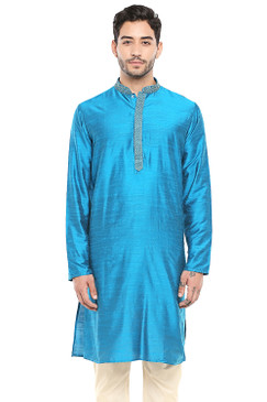 In-Sattva Men's Classic Band Collar Indian Kurta Tunic with Embroidered Placket Blue