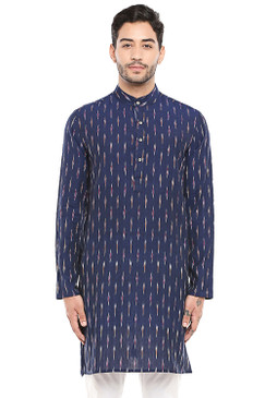 In-Sattva Men's Indian Handloom Band Collar Ikkat Print Knee-Length Kurta Tunic