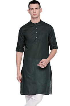 In-Sattva Men's Indian Band Collar Pure Cotton Kurta Tunic with Roll-up Sleeves Green