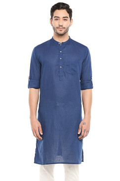 In-Sattva Men's Indian Band Collar Pure Cotton Kurta Tunic with Roll-up Sleeves Blue