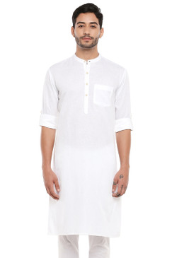 In-Sattva Men's Indian Band Collar Pure Cotton Kurta Tunic with Roll-up Sleeves White