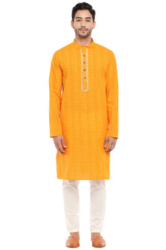 In-Sattva Men's Mandarin Collar Indian Kurta Tunic with Hand-Embroidered Placket