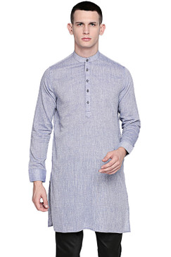 In-Sattva Men's Pure Cotton Indian Banded Collar Linen-Look Textured Kurta Tunic Light Blue