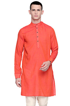 In-Sattva Men's Pure Cotton Indian Banded Collar Linen-Look Textured Kurta Tunic Orange