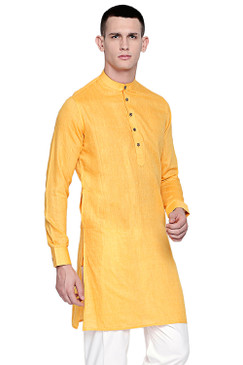 In-Sattva Men's Pure Cotton Indian Banded Collar Linen-Look Textured Kurta Tunic Yellow