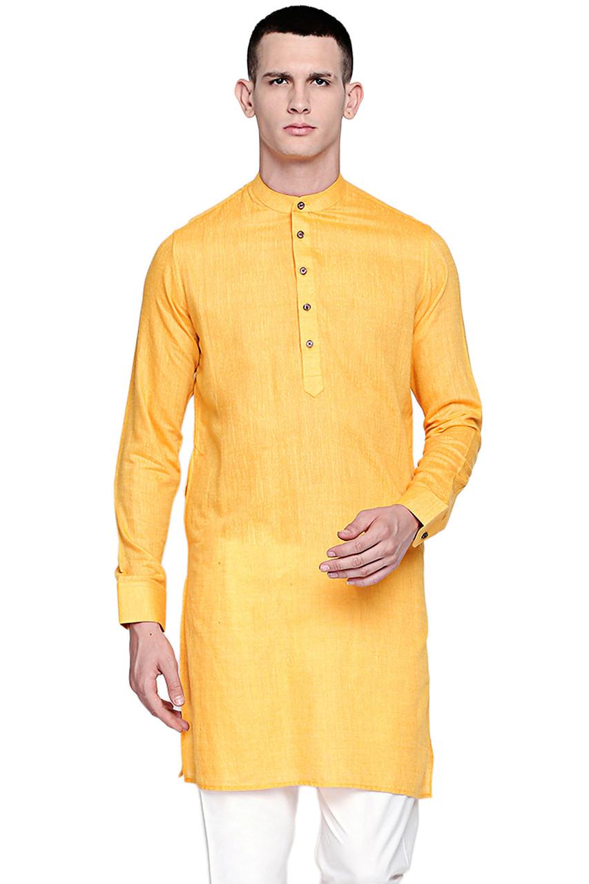 1e1fa40697f In-Sattva Men's Pure Cotton Indian Banded Collar Linen-Look Textured Kurta  Tunic Yellow - In-Sattva