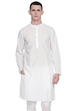 In-Sattva Men's Indian Mandarin Collar Pure White Pin-Stripe Cotton Kurta Tunic