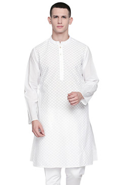 In-Sattva Men's Indian Band Collar Pure White All-Over Embroidered Kurta Tunic Check