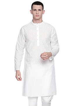 In-Sattva Men's Indian Band Collar Pure White All-Over Embroidered Kurta Tunic Circle