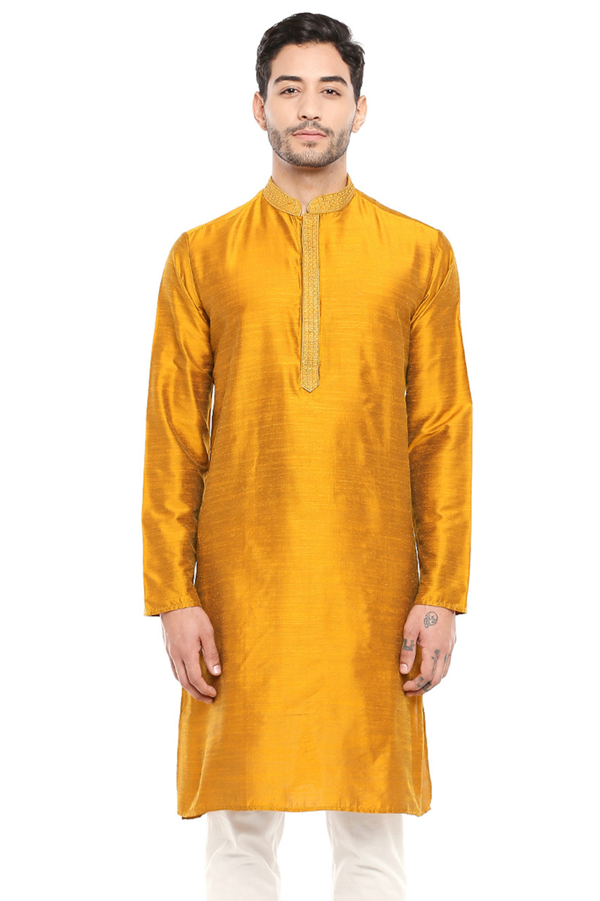 In Sattva Men S Classic Band Collar Indian Kurta Tunic With Embroidered Placket Mustard In Sattva