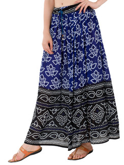 In-Sattva Women's Two-Tone Rangoli Print Handcrafted Ankle Length Maxi Skirt Blue