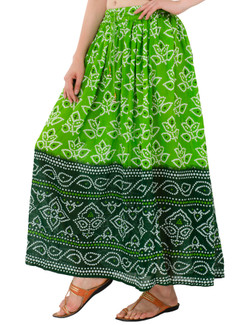In-Sattva Women's Two-Tone Rangoli Print Handcrafted Ankle Length Maxi Skirt Green