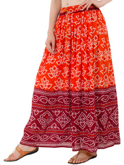 In-Sattva Women's Two-Tone Rangoli Print Handcrafted Ankle Length Maxi Skirt Orange