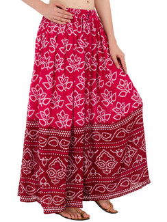 In-Sattva Women's Two-Tone Rangoli Print Handcrafted Ankle Length Maxi Skirt Pink