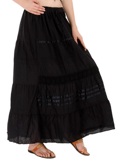 In-Sattva Women's Solid Color Cinched Bohemian Ankle Length Maxi Skirt Black