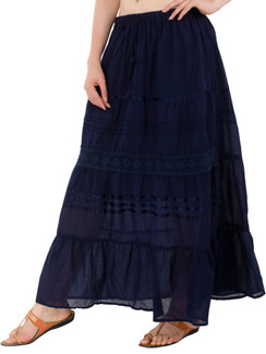 In-Sattva Women's Solid Color Cinched Bohemian Ankle Length Maxi Skirt Blue