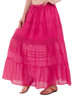 In-Sattva Women's Solid Color Cinched Bohemian Ankle Length Maxi Skirt Pink