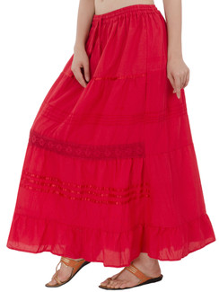 In-Sattva Women's Solid Color Cinched Bohemian Ankle Length Maxi Skirt Red
