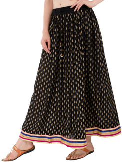 In-Sattva Women's Handcrafted Elegant Festive Print Ankle Length Maxi Skirt Black