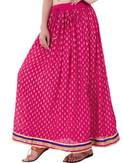 In-Sattva Women's Handcrafted Elegant Festive Print Ankle Length Maxi Skirt Pink