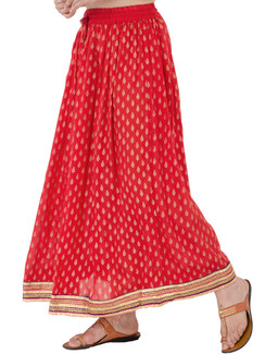 In-Sattva Women's Handcrafted Elegant Festive Print Ankle Length Maxi Skirt Red