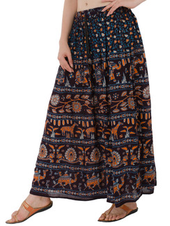 In-Sattva Women's Handcrafted Rajasthan Palace Print Ankle Length Maxi Skirt Blue