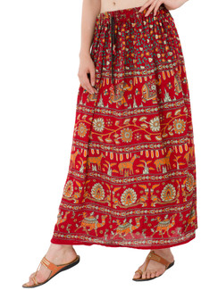 In-Sattva Women's Handcrafted Rajasthan Palace Print Ankle Length Maxi Skirt Red