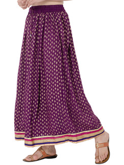 In-Sattva Women's Royal Printed Ankle Print Ankle Lenghth Maxi Skirt Purple