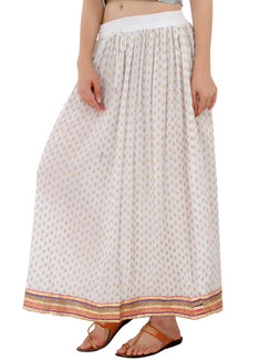 In-Sattva Women's Royal Printed Ankle Print Ankle Lenghth Maxi Skirt White