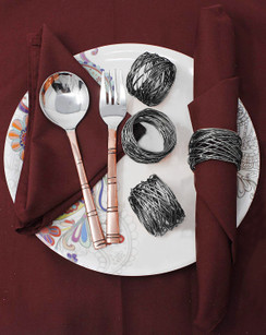 Rangeene Handmade Artisan Crafted Mesh Metal Dining Napkin Rings Black