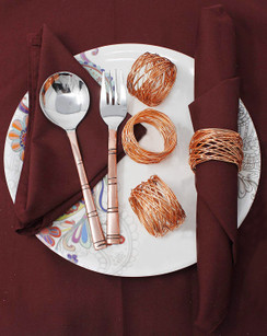 Rangeene Handmade Artisan Crafted Mesh Metal Dining Napkin Rings Copper