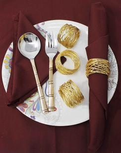 Rangeene Handmade Artisan Crafted Mesh Metal Dining Napkin Rings Gold