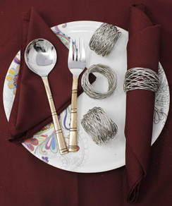 Rangeene Handmade Artisan Crafted Mesh Metal Dining Napkin Rings Silver