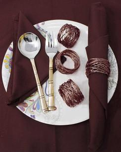 Rangeene Handmade Artisan Crafted Mesh Metal Dining Napkin Rings Brown