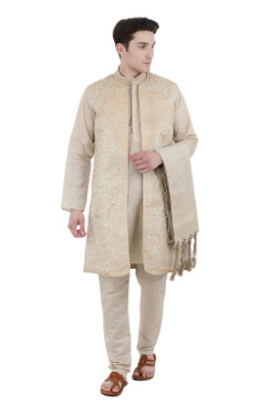 In-Sattva Men's Indian Four-Piece Ensemble Elegant Embroidered Kurta Tunic Pajama Beige