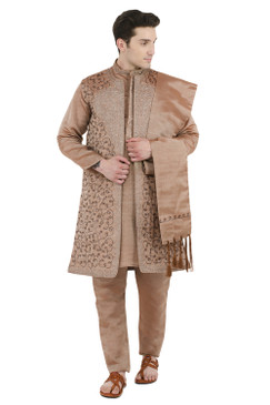 In-Sattva Men's Indian Four-Piece Ensemble Elegant Embroidered Kurta Tunic Pajama Brown