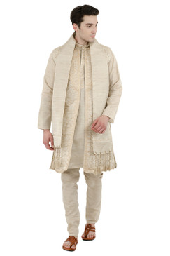 In-Sattva Men's Indian Four-Piece Ensemble Elegant Embroidered Kurta Tunic Pajama Off White