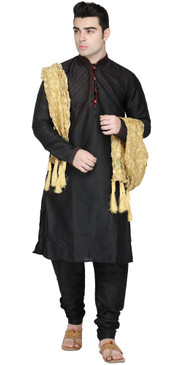 In-Sattva Men's Indian Three-Piece Ensemble Round Neck Buttoned Stripe Patterned Kurta Tunic Pajama Black