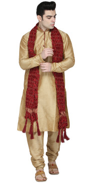In-Sattva Men's Indian Three-Piece Ensemble Round Neck Buttoned Stripe Patterned Kurta Tunic Pajama Brown