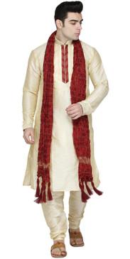 In-Sattva Men's Indian Three-Piece Ensemble Round Neck Pintucked Contrast Kurta Tunic Pajama Beige