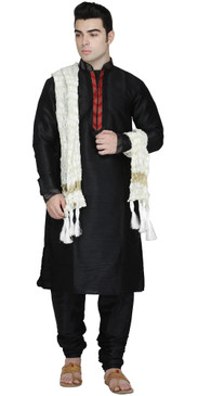 In-Sattva Men's Indian Three-Piece Ensemble Round Neck Pintucked Contrast Kurta Tunic Pajama Black