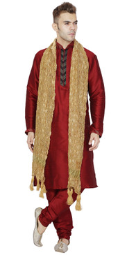 In-Sattva Men's Indian Three-Piece Ensemble Round Neck Pintucked Contrast Kurta Tunic Pajama Red