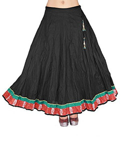 In-Sattva Women's Full Length Skirt Crushed Black With Indian Print Border