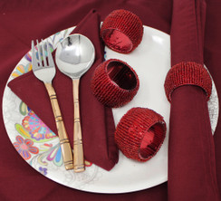 Rangeene Handmade Finely Beaded Napkin Rings for Dinners, Weddings, Banquets, and Special Occasions; Red
