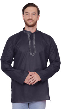Handmade Men's Embroidered Cotton Hip Length Kurta Tunic Shirt Black