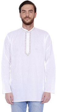 Handmade Men's Embroidered Cotton Hip Length Kurta Tunic Shirt White