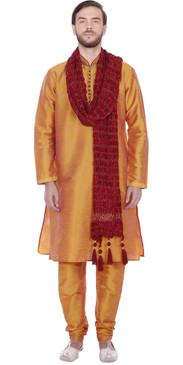 Handmade Caramel Colored Gold Threaded Silk Men's Kurta Pajama Set