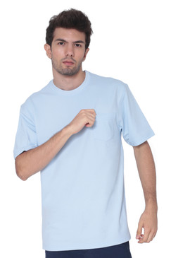 AVA Athletica Men's Cotton Classic Fit Round Neck Soft T-Shirt with Pocket Light Blue