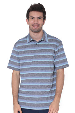 AVA Athletica Men's Collared Moisture-Wicking Active Wear Broad Striped T-Shirt Blue